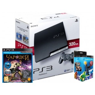 Комплект «Sony PS3 (320 Gb) (CECH-3008B)» + игра «Чародей» + «PS Move Starter Pack»